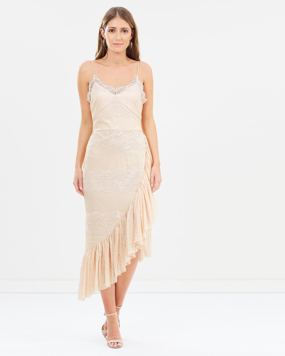 Cooper St Helena Drape Lace Dress Dresses Powder Pink Helena Drape Lace Dress
