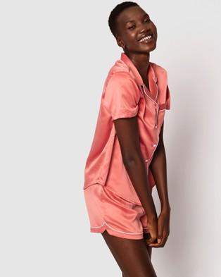 Bras N Things Liquid Satin Short Pj Set - Sleepwear (Rust/White)