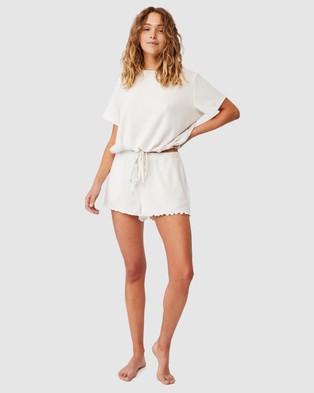 Cotton On Body Super Soft Draw Cord T Shirt Sleepwear Oatmeal Marle Rib T-Shirt