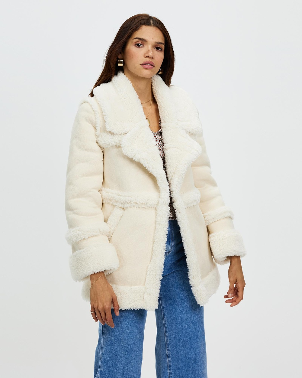 All About Eve 70s Shearling Jacket Coats & Jackets Natural