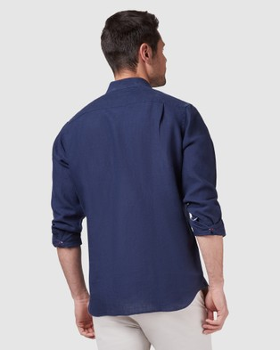 Australia Blazer Cooper Long Sleeve Linen Plain Shirt - Shirts & Polos (Navy)