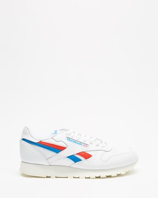 Reebok Classic Leather   Unisex - Lifestyle Sneakers (White, Instinct Red & Dynamic Blue)