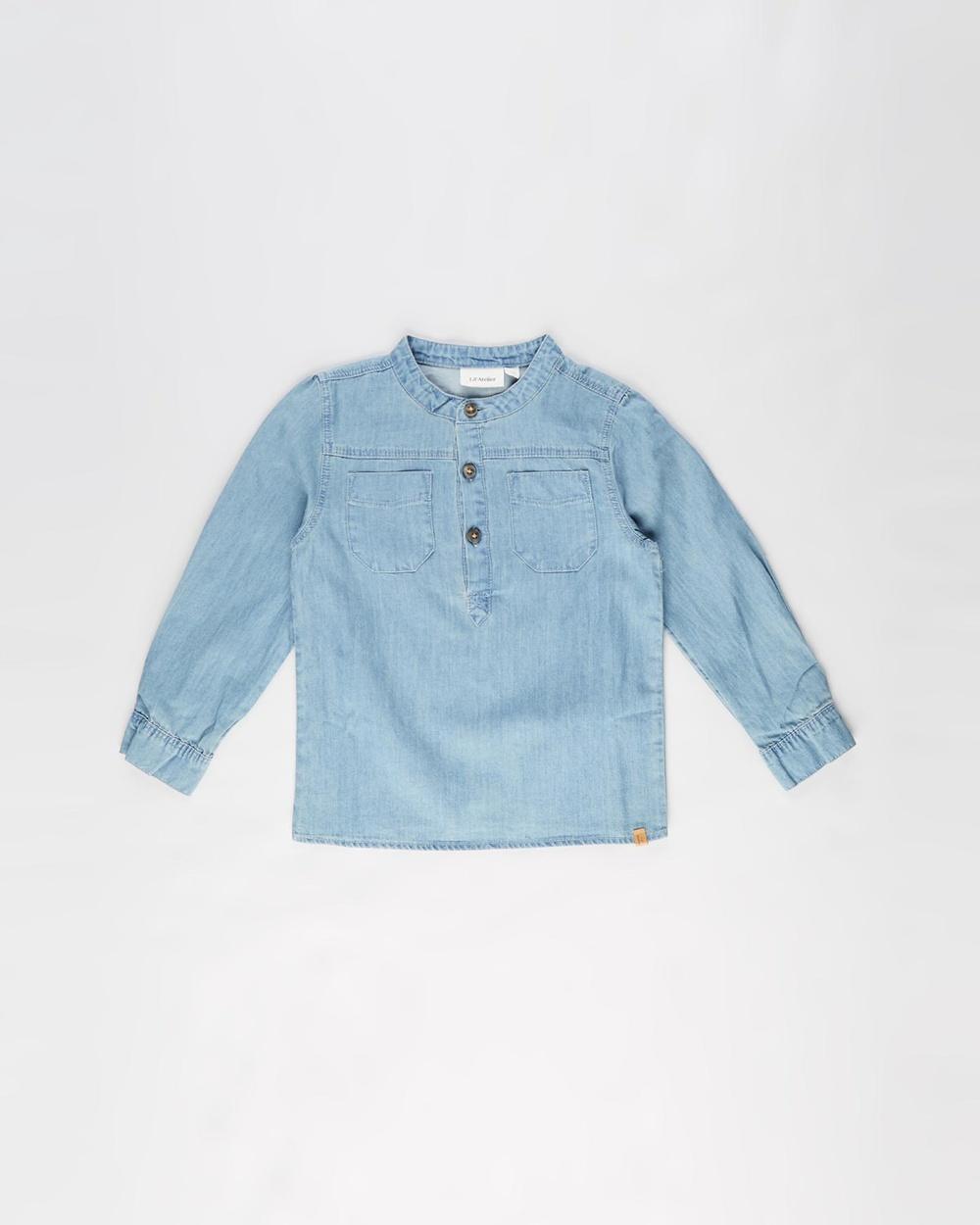 Lil?ÇÖ Atelier Milan Denim Long Sleeve Shirt Kids Tops Light Blue Denim Australia