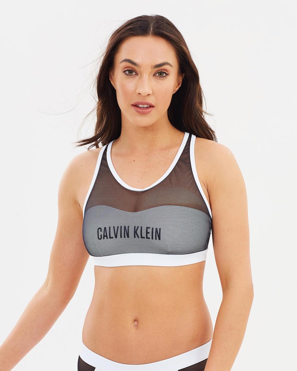 CK Swim Mesh Bralette Bikini Tops White Mesh Bralette
