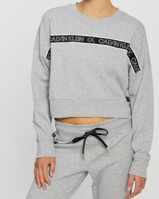 Calvin Klein Performance LS Crew Neck Crop Pullover - Crew Necks (Pearl Grey Heather)