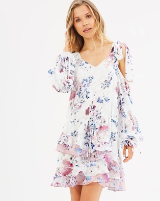 We Are Kindred – Alessandra Ruffle Mini Dress – Printed Dresses Monet Bloom
