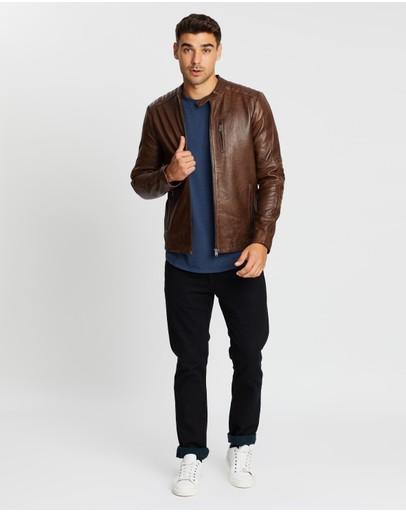 Jack & Jones Leather Jacket Bone Brown