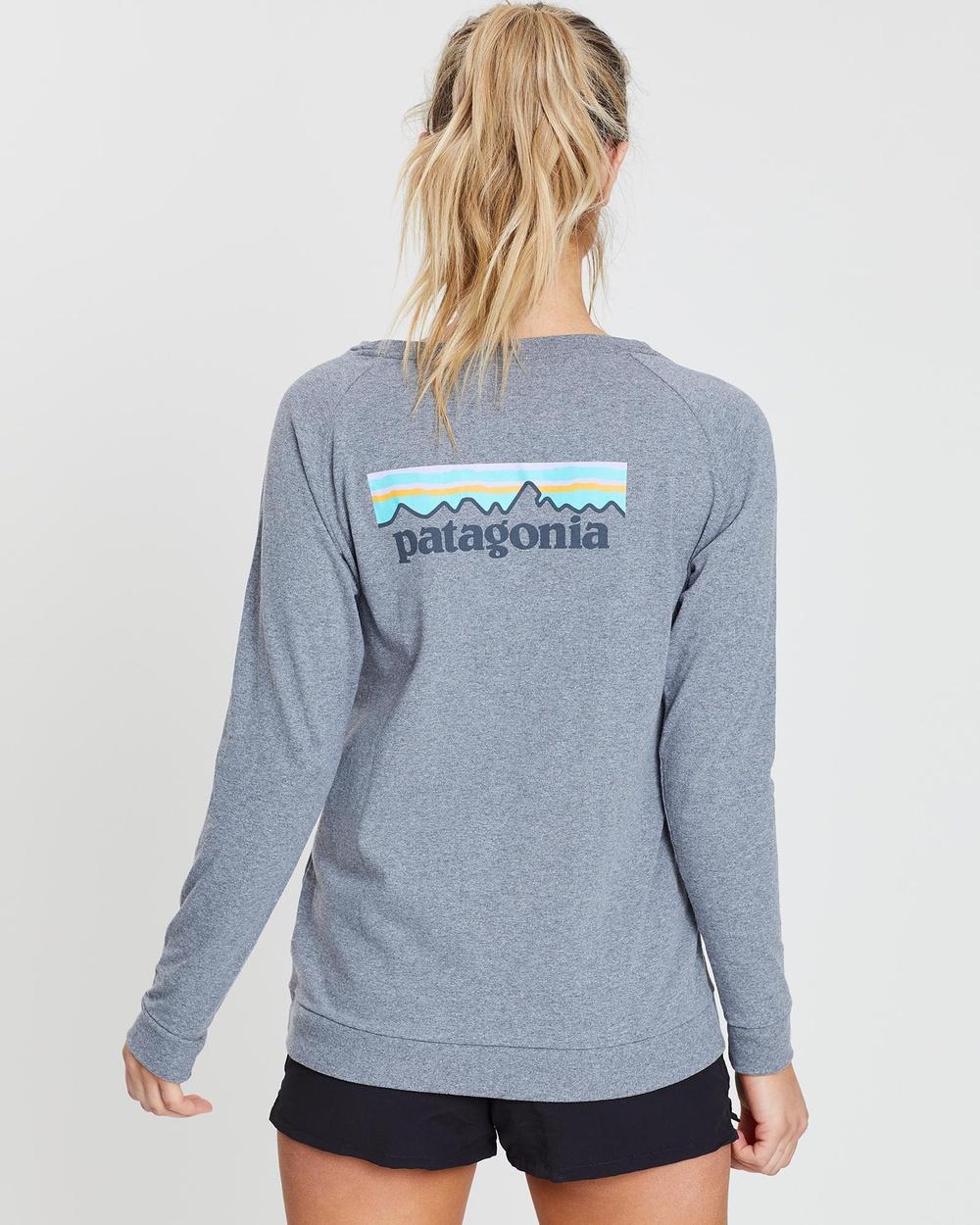 Patagonia - Women's Long Sleeve Pastel P 6 Logo Responsibili Tee - Long Sleeve T-Shirts (Gravel Heather) Women's Long Sleeve Pastel P-6 Logo Responsibili-Tee
