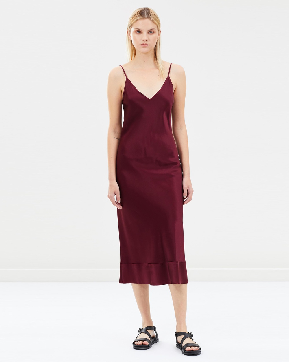 Lee Mathews Plum Rose Silk Satin V-Neck Slip Dress