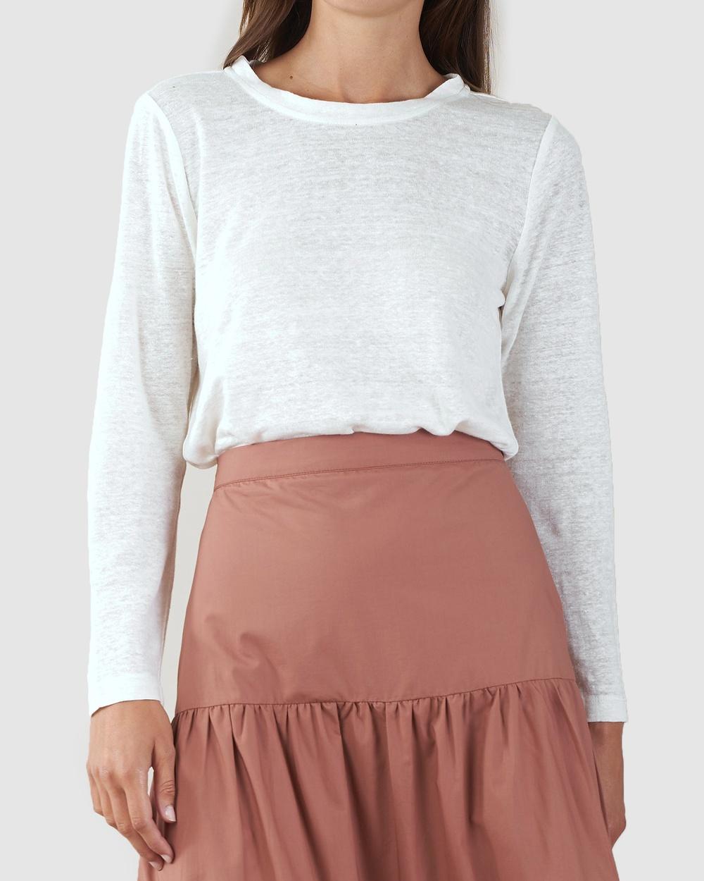 Amelius - Priya Long Sleeve Linen T Shirt - Long Sleeve T-Shirts (Ivory) Priya Long Sleeve Linen T-Shirt