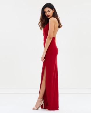 SKIVA Embellished One Shoulder Evening Dress - Dresses (Red)