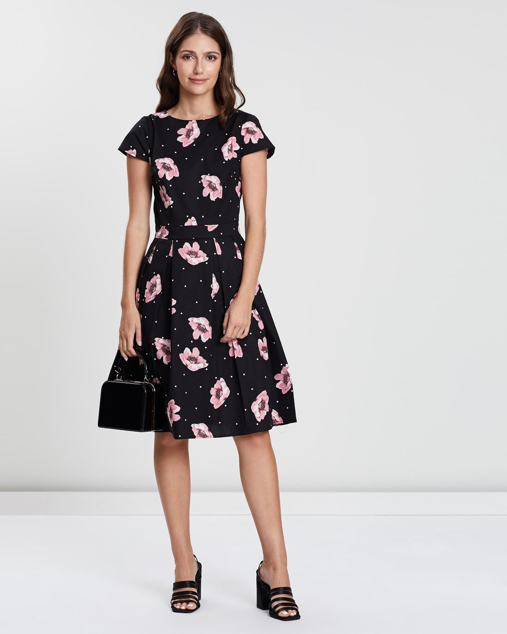 96ccfb34198 Sateen Spotted Floral Tea Dress