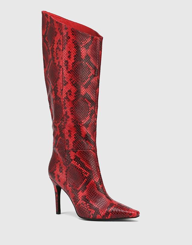 Women Herodes Anaconda Leather Stiletto Heel Long Boots