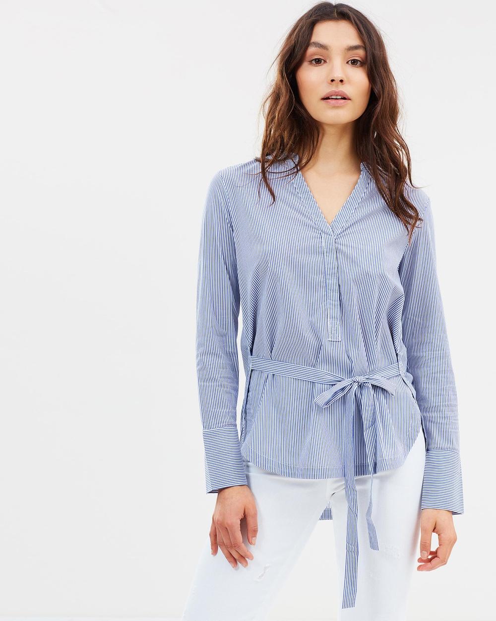 Elka Collective Esme Shirt Tops Blue Stripe Esme Shirt