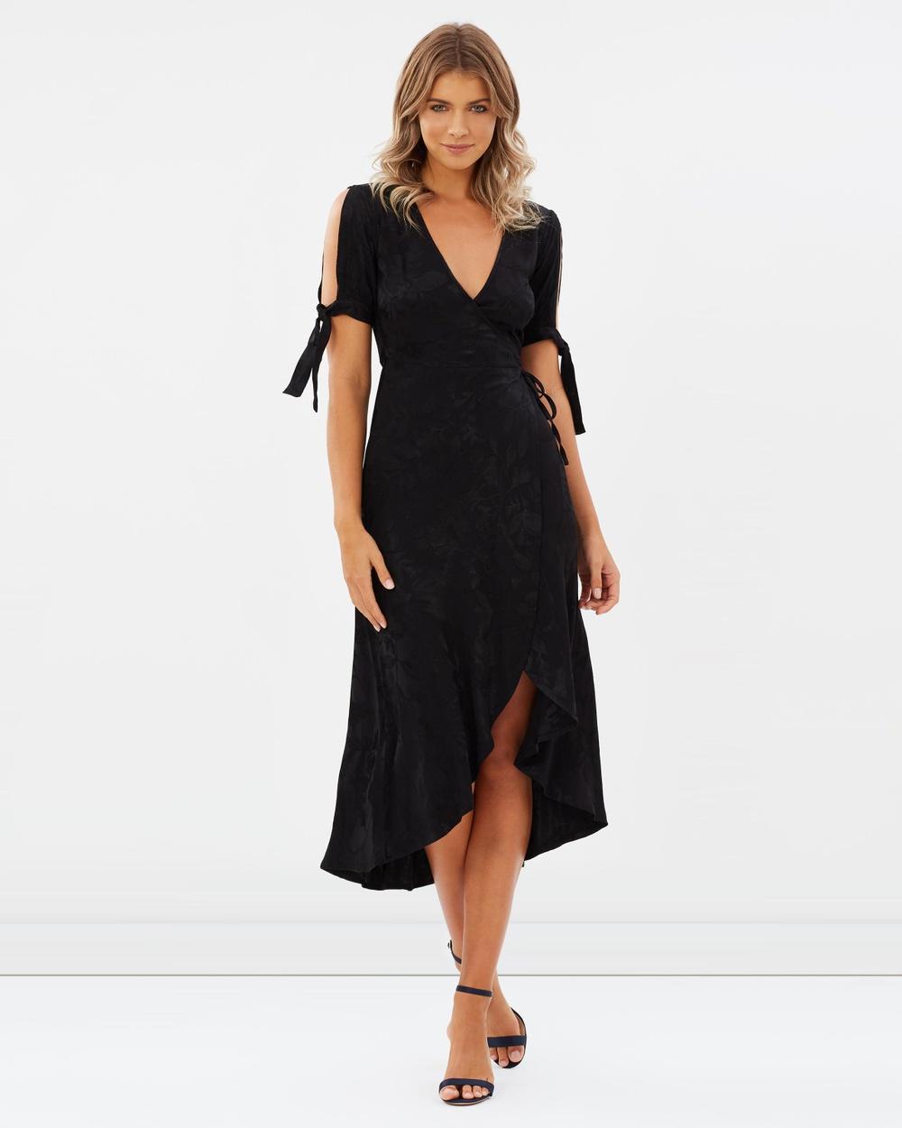 Atmos & Here ICONIC EXCLUSIVE Malta Midi Wrap Dress Dresses Black ICONIC EXCLUSIVE Malta Midi Wrap Dress