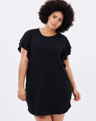 Atmos & Here Curvy – Milly Frill Jersey Tee Dress – Dresses (Black)