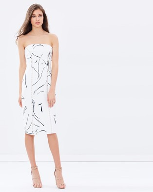 Keepsake the Label – In My Eyes Midi Dress – Bodycon Dresses (Ivory Sketch Print)