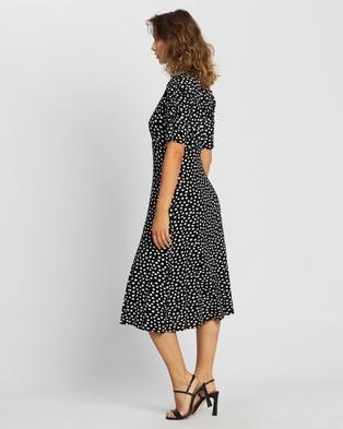 Dorothy Perkins Empire Seam Midi Split Dress - Printed Dresses (Black)