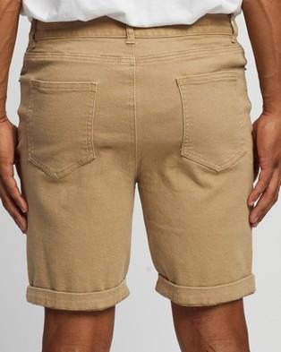 Staple Superior Organic Organic Cotton Five Pocket Shorts - Chino Shorts (Stone)