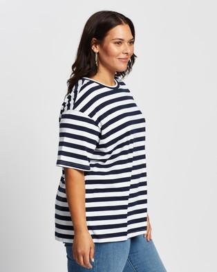 Atmos&Here Curvy - Harry Boyfriend Tee - T-Shirts & Singlets (Navy & White Stripe) Harry Boyfriend Tee