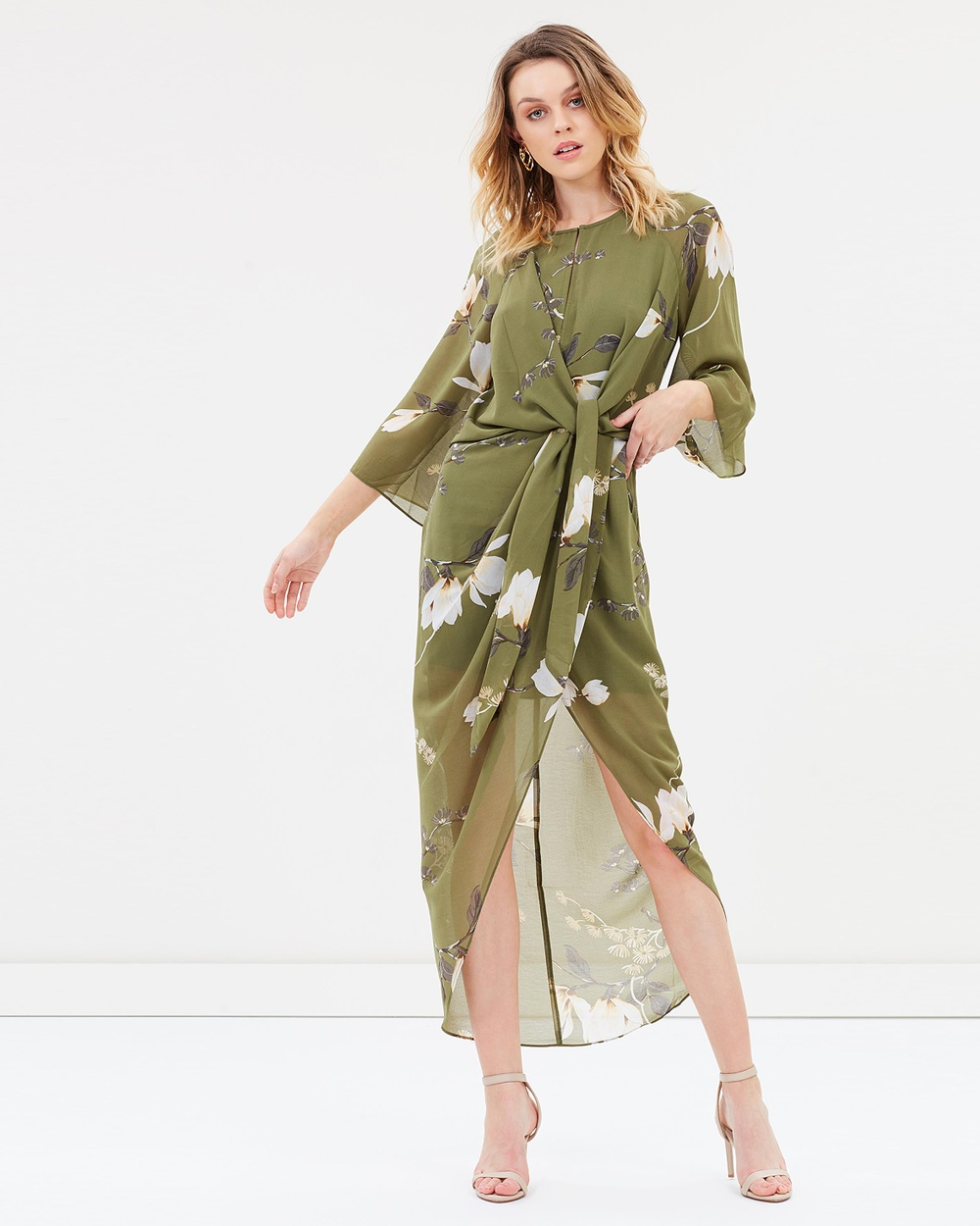 Shona Joy Tie Front Draped Midi Dress Printed Dresses Moss Multi Tie Front Draped Midi Dress