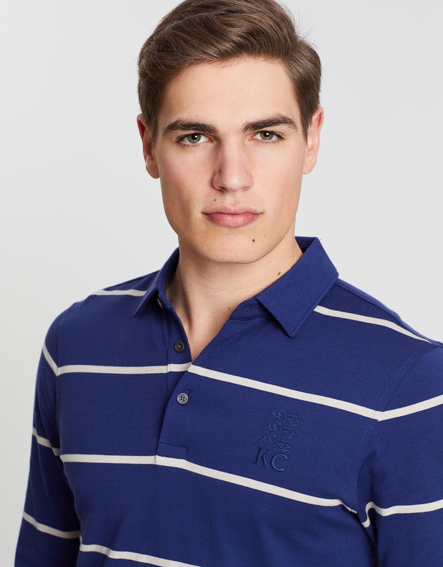 Kent and Curwen - Basic Striped Long Sleeve Polo