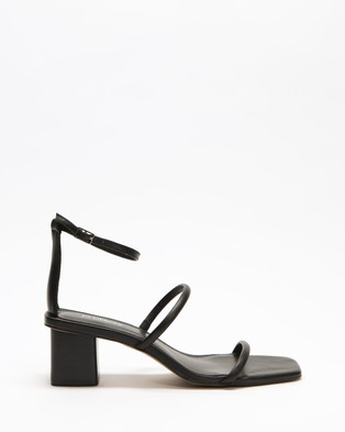 Jo Mercer Quinn Mid Heel Sandals - Mid-low heels (Black Leather)