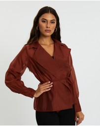 Missguided - Organza Belted Wrap Blouse