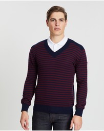 Kent and Curwen - Striped V-Neck Sweater