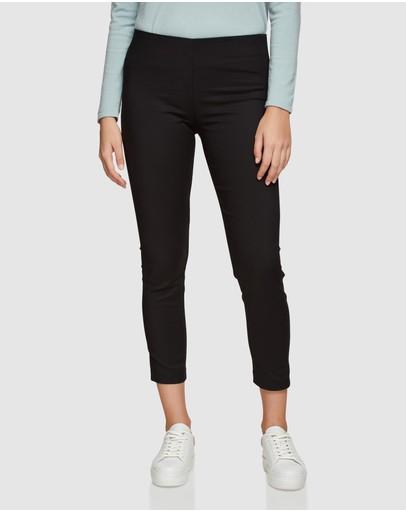 Oxford Jackie Zipper Crop Stretch Pants Black