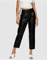 TOPSHOP - Leather Peg Trousers