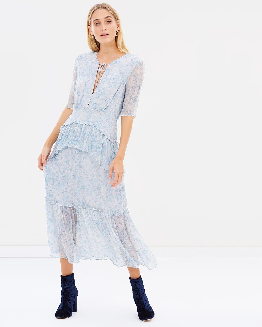 Stevie May La Fleur Camille Blue Print Iris Midi Dress