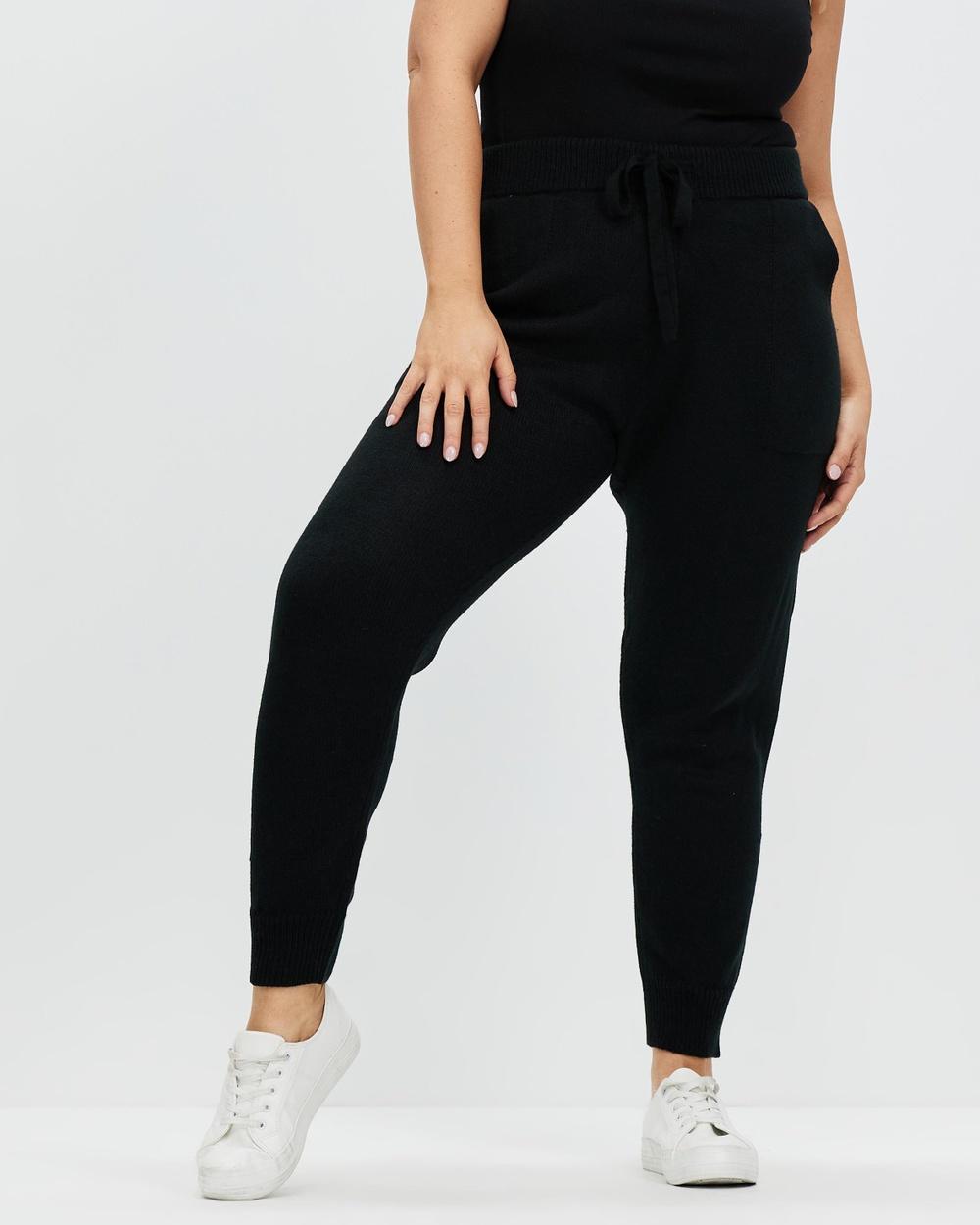 Atmos&Here Curvy Savannah Knitted Pants Black Australia