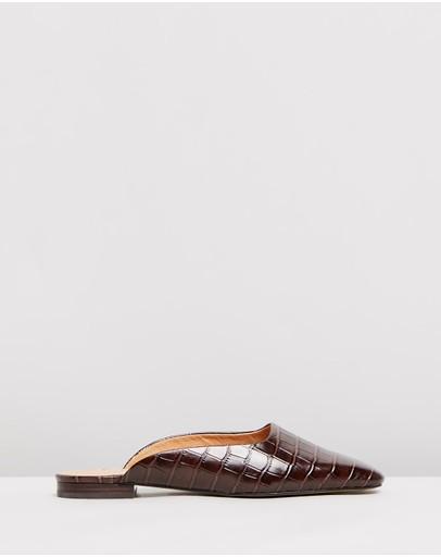 Skin Kael Leather Mules Brown Croc-embossed
