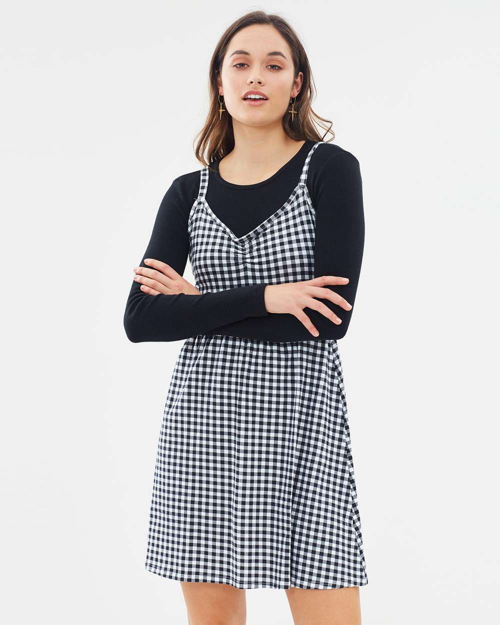 Dorothy Perkins Gingham Print Shift Dress Dresses Black & White Gingham Print Shift Dress