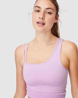 Cotton On Body Active Run With It One Shoulder Vestlette - Crop Tops (Blossom Marle)