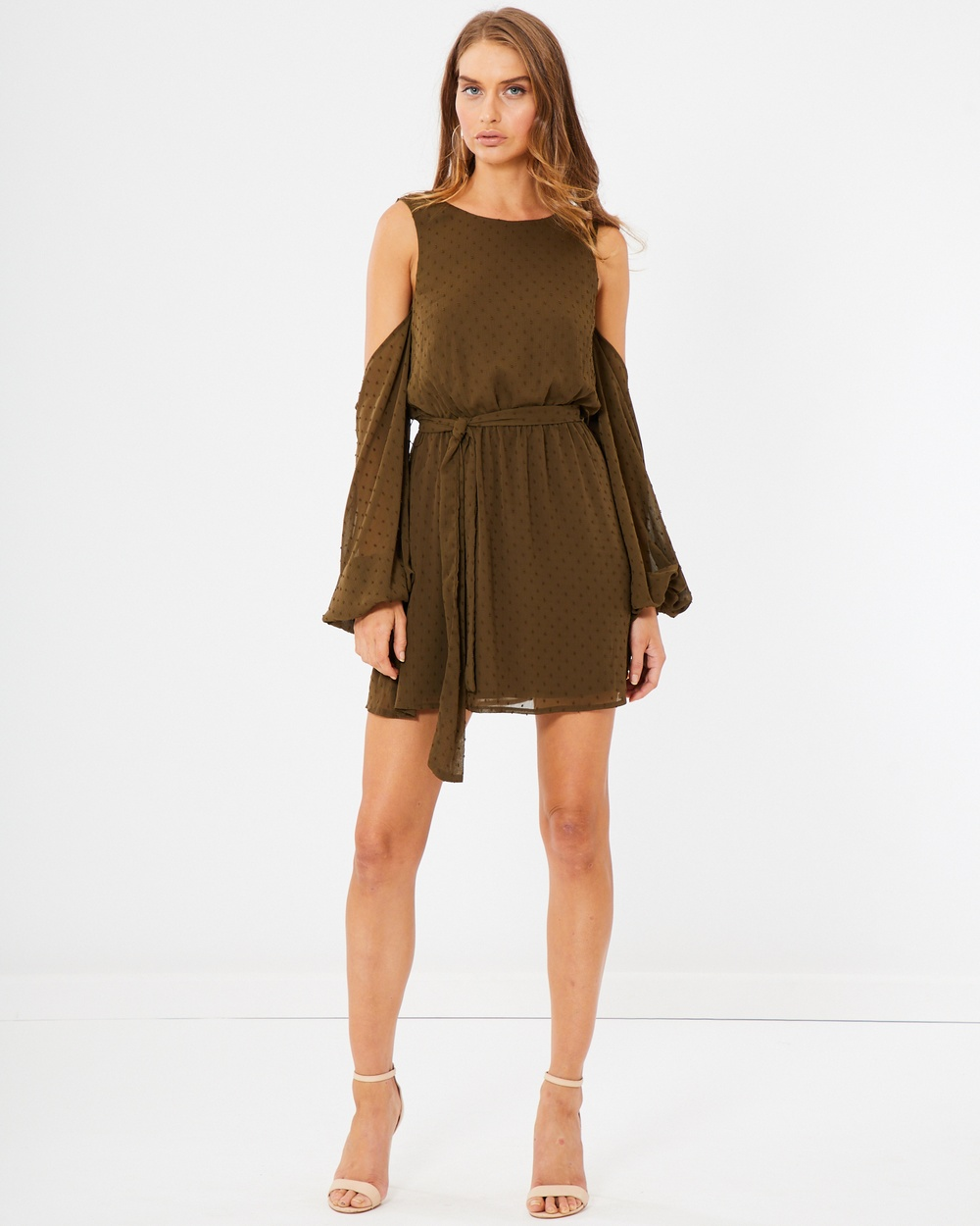Tussah Kora Cold Shoulder Dress Dresses Khaki Speckle Spot Kora Cold-Shoulder Dress