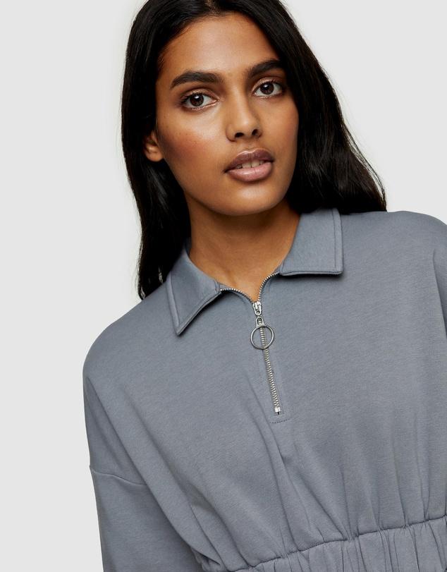 Women Zip Collared Mini Dress