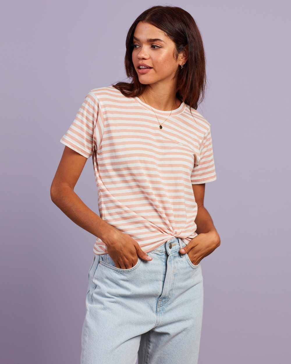Nude Lucy - Harper Basic Crew Neck Tee - T-Shirts & Singlets (Nude Stripe) Harper Basic Crew Neck Tee