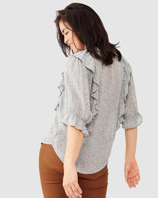 Ceres Life Ranch Ruffle Shirt - Tops (Winter Sky Floral)