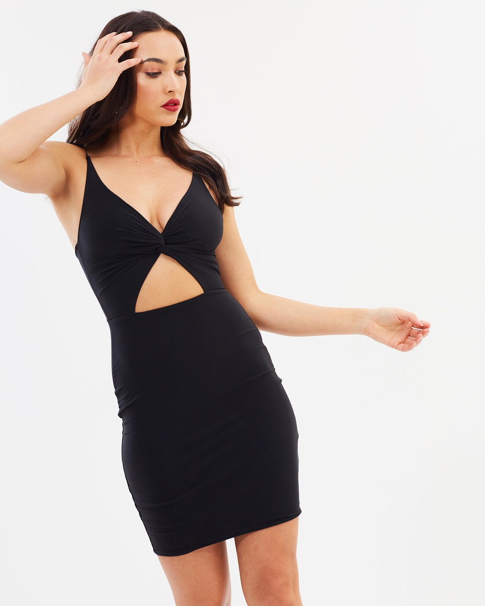 Missguided Slinky Twist Front Cut Out Bodycon Dress Bodycon Dresses Black Slinky Twist Front Cut Out Bodycon Dress