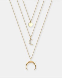 Elli Jewelry - Necklace Half Moon Layer Swarovski® Crystals 925 Silver Gold Plated