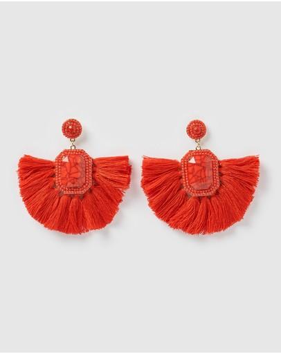 Izoa Reign Earrings Red