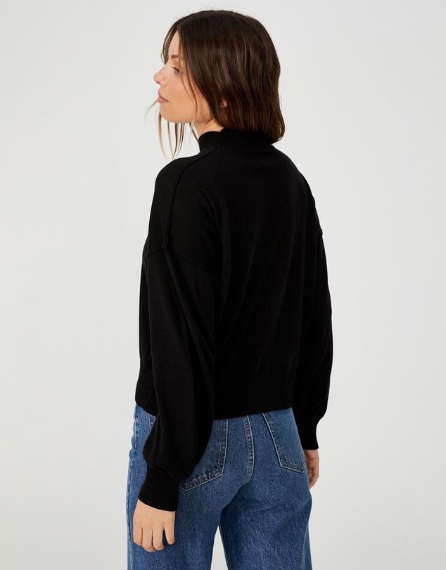 Women Cotton Mock Neck Pullover