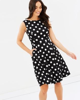 Forcast – Eliza A Line Dress Black Polka Dot