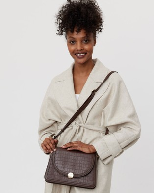 Saben Goldie Cross body Leather Handbag Satchels Brown Cross-body