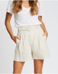 AERE - Belted Linen Shorts