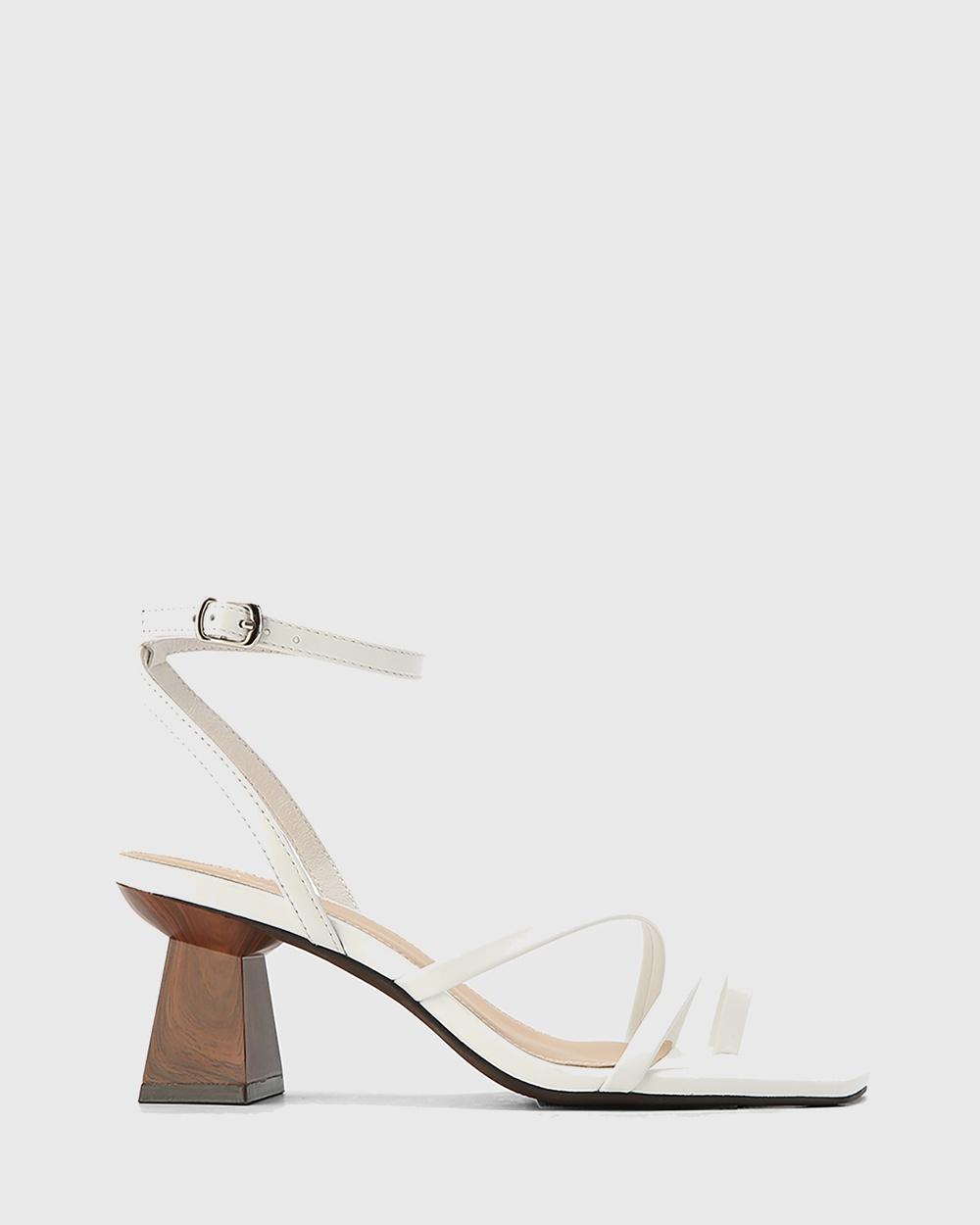 Wittner Kaiya Leather Strappy Sculptured Heel Sandals White Australia