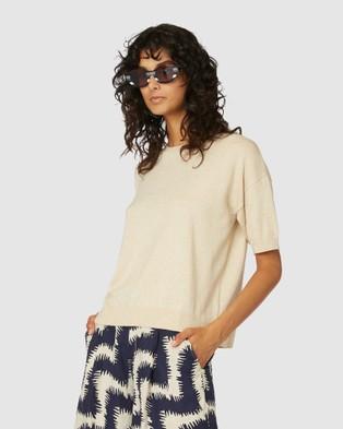 Gorman Loose Leaf Knit Tee - T-Shirts & Singlets (Brown)