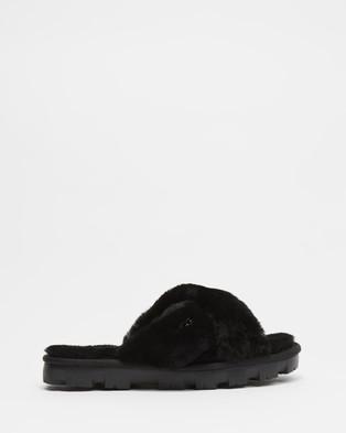 UGG Fuzzette Slides   Women's - Sandals (Black)